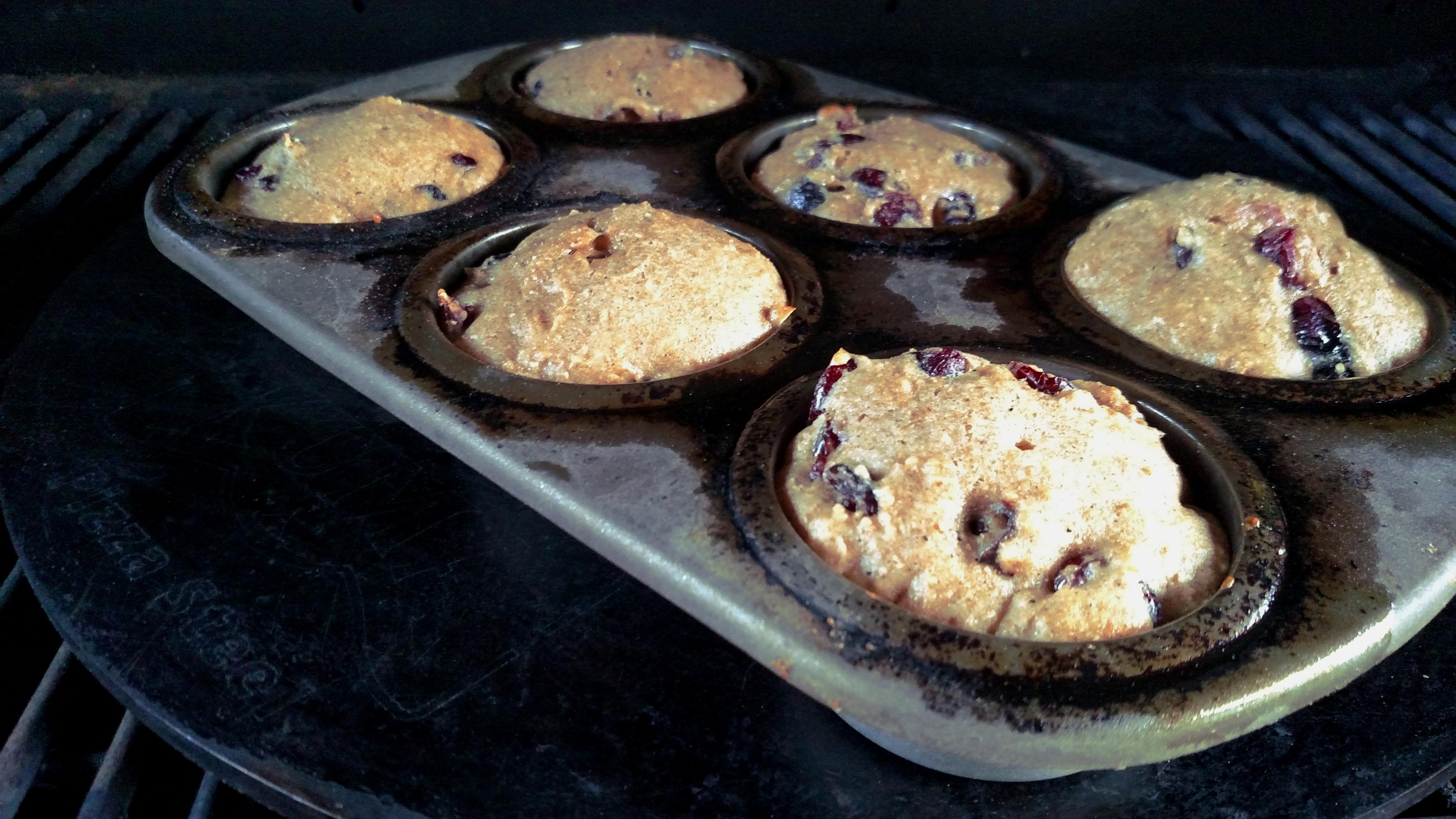 Cranberry muffins with a pizza steel