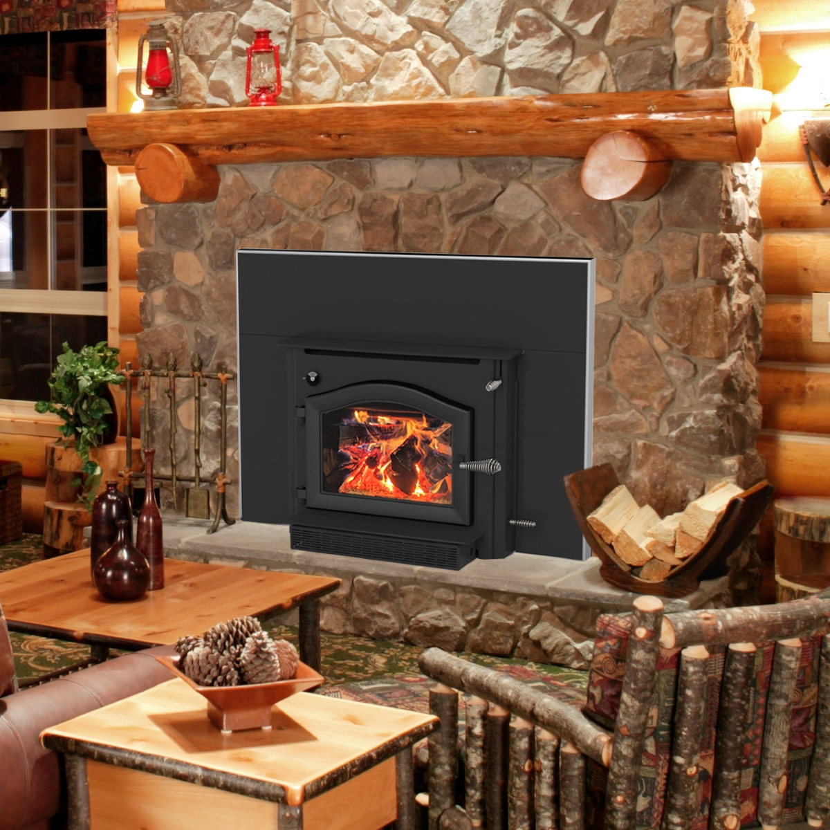 Kuma Aspen wood fireplace insert with pewter door, made in the USA