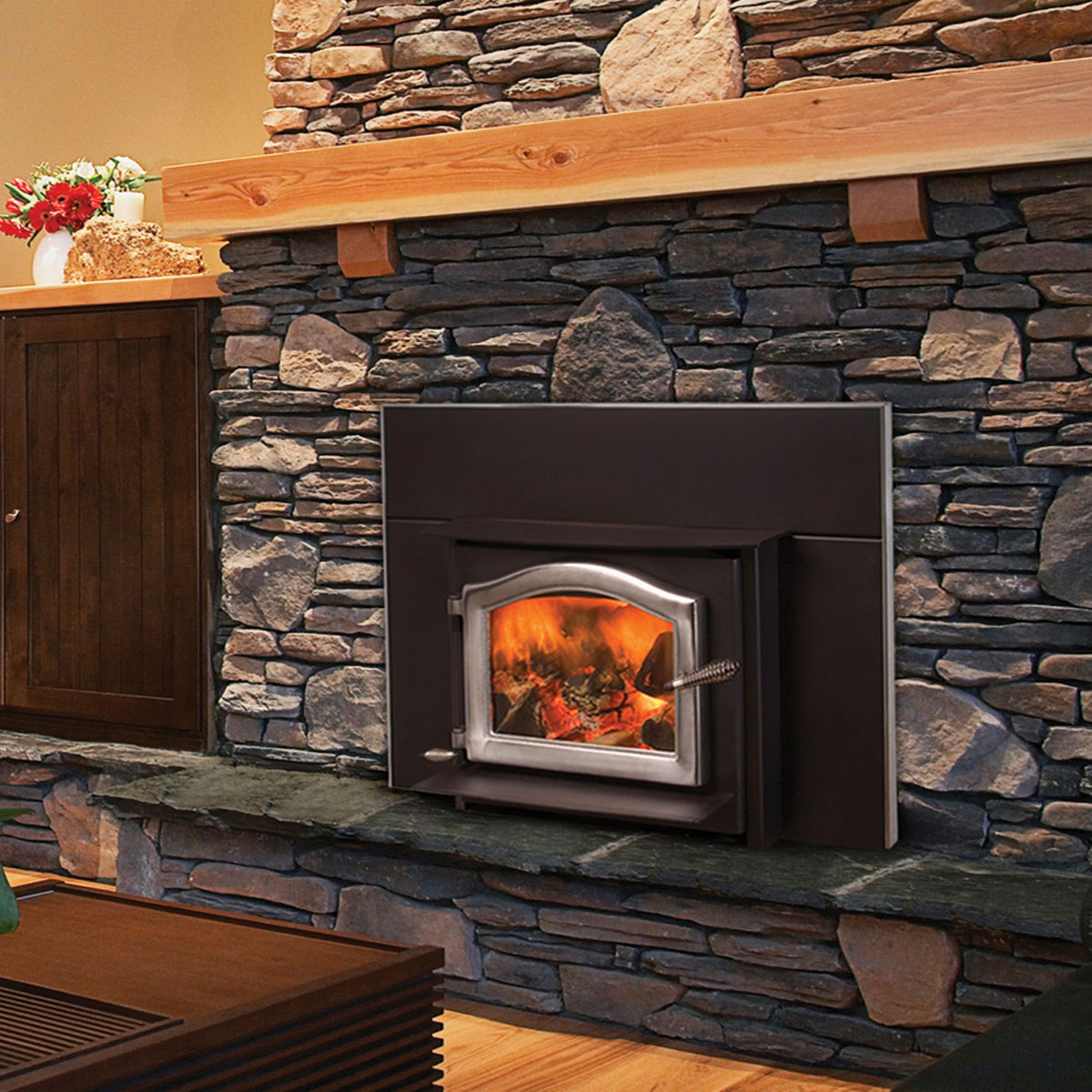 Kuma Ashwood wood fireplace insert, made in the USA