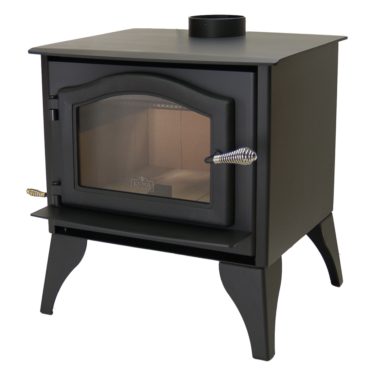 Kuma Ashwood wood stove with steel legs and black door - Ashwood Wood Stove And Fireplace From Kuma Stoves