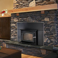 Kuma Ashwood wood fireplace insert with black door