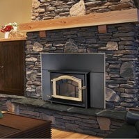 Kuma Ashwood wood fireplace insert with gold door and sunburst