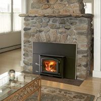 Kuma Aspen wood fireplace insert with black door