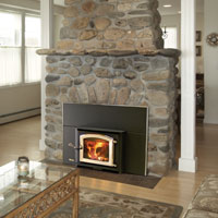 Kuma Aspen wood fireplace insert with gold door