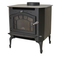 Kuma Sequoia wood stove with cast legs, sunburst, and black door