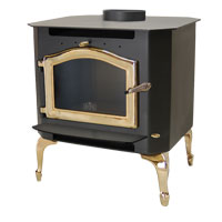 Kuma Sequoia wood stove with gold legs and gold door