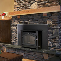 Kuma Sequoia wood fireplace insert with black door
