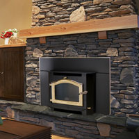 Kuma Sequoia wood fireplace insert with gold door