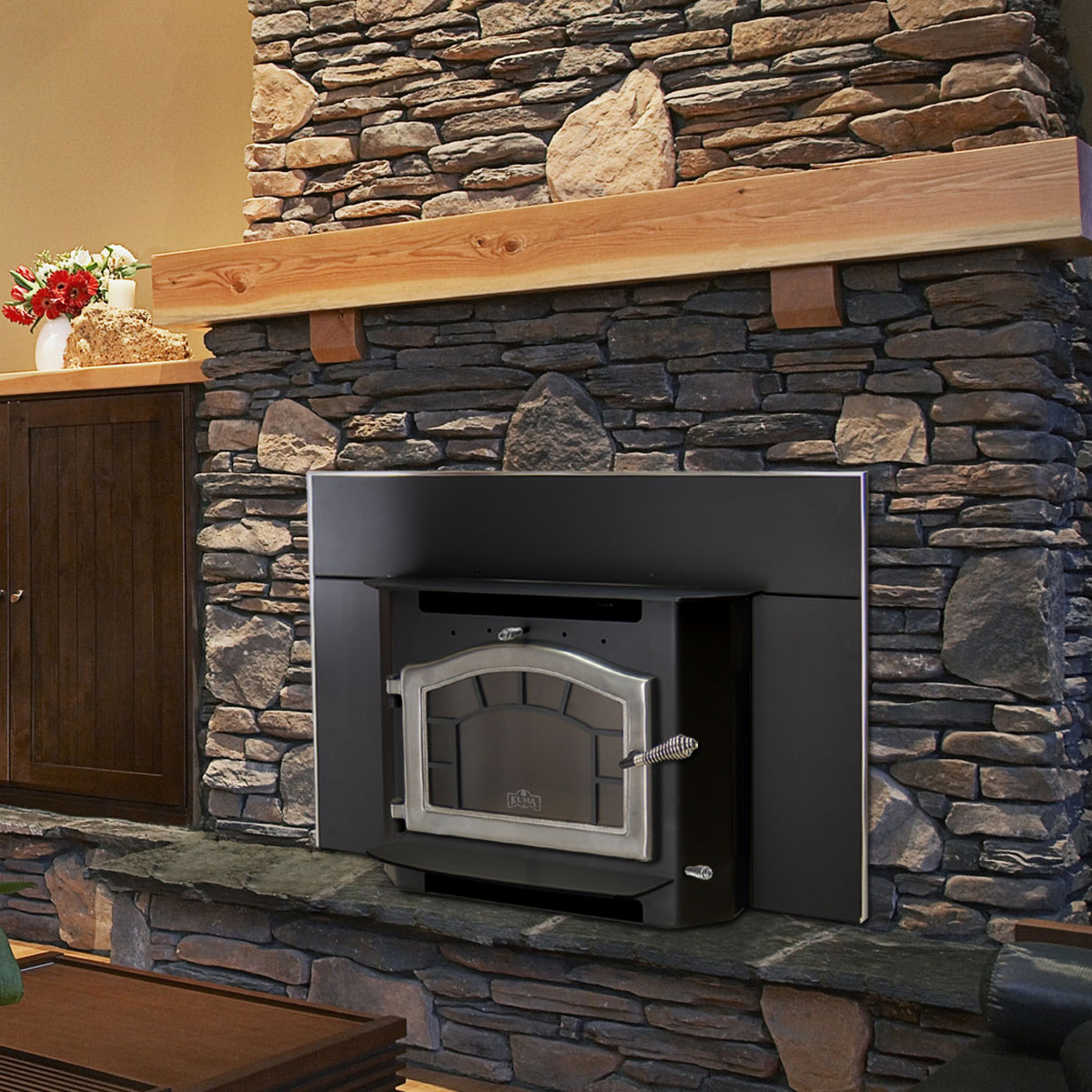 Kuma Sequoia wood fireplace insert, made in the USA