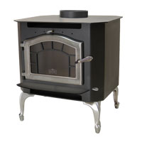 Kuma Sequoia wood stove with pewter legs, sunburst, and pewter door