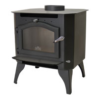 Kuma Sequoia wood stove with steel legs and black door