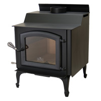 Kuma Tamarack wood stove with cast legs and black door