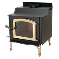 Kuma Tamarack wood stove with gold legs and gold door