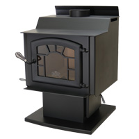 Kuma Tamarack wood stove with pedestal, ash pan, sunburst, and black door