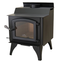 Kuma Tamarack wood stove with steel legs and black door