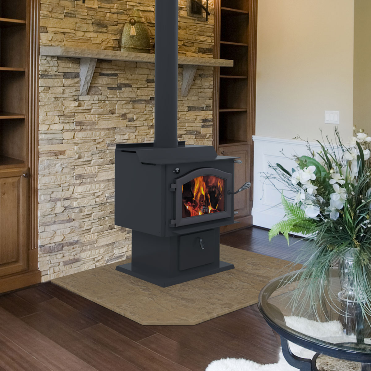 Kuma Tamarack wood stove, made in the USA