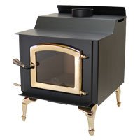 Kuma Wood Classic wood stove with gold legs and gold door