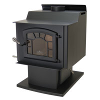 Kuma Wood Classic wood stove with pedestal, ash pan, sunburst, and black door