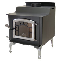 Kuma Wood Classic wood stove with pewter legs, sunburst, and pewter door